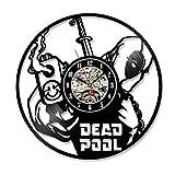 GuoEY Klassische H?hle Deadpool Film Vinyl Record Uhr Home Zimmer Art Decor Handmade Vintage Hängenden Wand LED Uhr