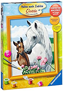 Ravensburger 28393  - Set de pintar por números dibujo de dos caballos (30 x 24 cm) Importado de Alemania