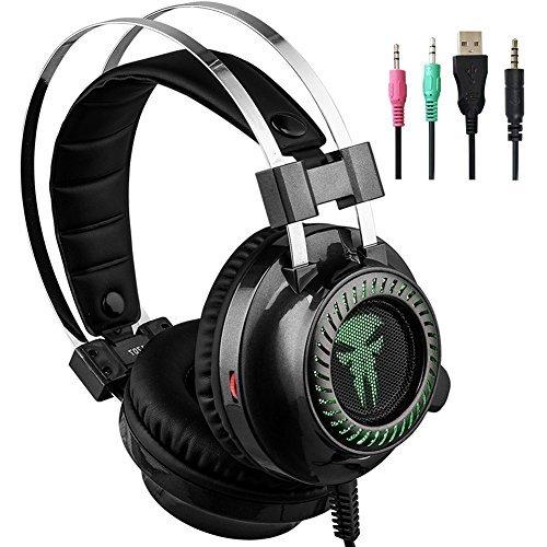 Xiaowu PC Auricular con micrófono Gaming para PS4 PS3 reducción de ruido de sonido Surround Gaming Auriculares con micrófono - Auriculares de diadema con self-adjustment Bean y luz LED (UK-HS013)