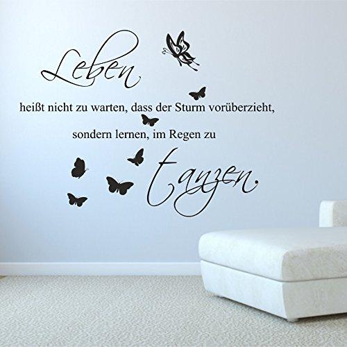 greenluup ökologisches Wandtattoo in Silber Sprüche und Zitate ..Leben ist…