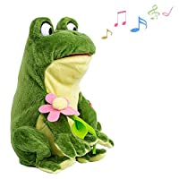 Aideal Singing Frog Stuffed Plush Toy with Goggling Eyes Electric Soft Toy Animated Music Toys for Children Adults Gifts
