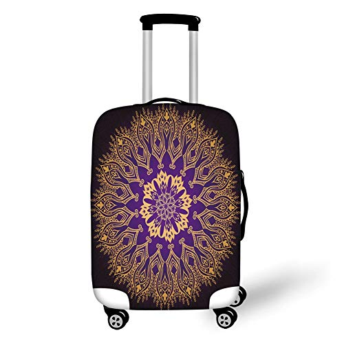 Travel Luggage Cover Suitcase Protector,Gold Mandala,Round Lace Like Arabesque Motif Leaf Figures Folkloric Ethnic Print Decorative,Violet Purple Gold,for Travel XL Scottish Lace
