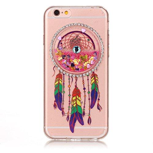 Custodia per Apple iPhone 6 Plus/ 6S Plus case,Herzzer Mode Crystal iPhone 6 Plus/ 6S Plus Elegante Creativo trasparente acchiappasogni con Bling Diamanti Strass Glitter liquido cuore amore Sabbie mob Rosa