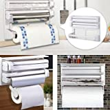 #10: WOTRA® 3 in 1 Kitchen Triple Paper Dispenser & Holder Paper/ Foil/ Cling Wrap - 3 in 1 Wrap Center Holds Silver Foil, Plastic Wrap, and Paper Towels
