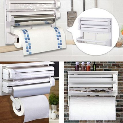 One pearl 3 in 1 Kitchen Triple Paper Dispenser & Holder Paper/ Foil/ Cling Wrap - 3 in 1 Wrap Center Holds Silver Foil, Plastic Wrap, and Paper Towels  available at amazon for Rs.598