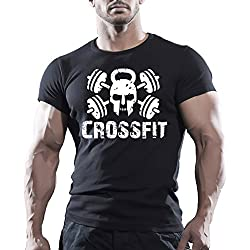 Crossfit WOD camiseta de deporte, color negro, para entrenamiento negro negro Medium
