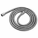 DSIKER® tubo flessibile per doccia di alta qualità, 150cm, ad avvolgimento doppio, con involucro in acciaio inox e 2anelli di guarnizione, effetto metallico