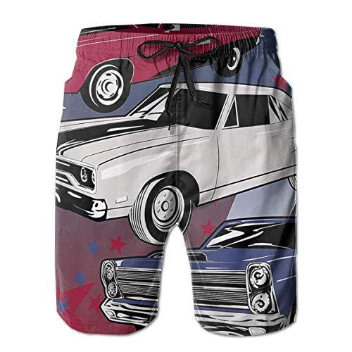 Wwoman Hombres Retro Vintage Cars Pantalones Cortos
