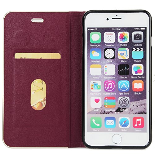 Custodia Cover per iPhone 6S plus, Ukayfe Luxury Puro Colore 3D Design Litchi Tessitura PU pelle Bumper Slim Folio Protectiva Lussuosa Custodia Cover per iPhone 6 plus, [PU Leather] [Shock-Absorption] Borgogna #