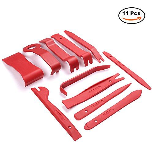 AUTOWN 11tlg Innen-Verkleidung Auto Werkzeuge Reparatur Set Demontage Montage-Keile Zierleistenkeil Cliplöser für Türverkleidung - Rot Test