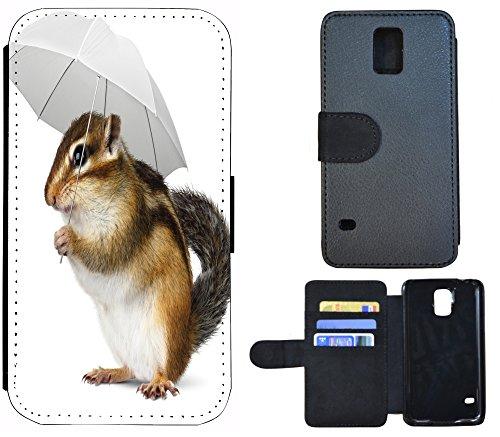 Schutz Hülle Flip Cover Handy Tasche Etui Case für (Apple iPhone 6 / 6s, 1220 Blumen Schmetterling Blau Schwarz Grün) 1222 Maus Schirm Braun Weiß