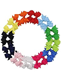 "CHRONEX ECOMM Baby Girls Infants Hand Made Solid Candy Colors Grosgrain Ribbon 2.75"" Hair Bows with Alligator Clips (Multicolour) - Pack of 10 Pieces"