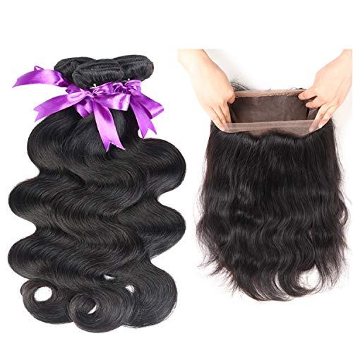 Natürliche Haarteile Brasilianische Körperwelle 3 Bundles Mit 360 Spitze Frontal Verschluss Haarwebart Bundles Nicht Remy Menschenhaar Perücken (Length : 12 14 16 Closure 10)