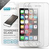 Yousave Accessories iPhone 5S / 5 / SE 2 Pacchetto Pellicola Protettiva Trasparente In Vetro Temperato [Ultra Sottile 0,3 mm/ Indice Di Resistenza 9H] - Doppio Pacco