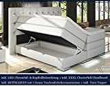 XXXL MAILAND Boxspringbett mit Bettkasten Designer Boxspring Bett Chesterfield LED WEISS CHESTERFIELD DESIGN (180x200cm, Weiss)