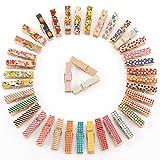 CLE DE TOUS - 50-100pcs Mini pinzas de madera pintados Clips para decorar Boda Fiesta Foto Papel...