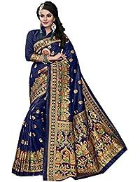 Aarti Apparels Women's Designer Banarasi Silk Saree_Blue_THNCS-1001