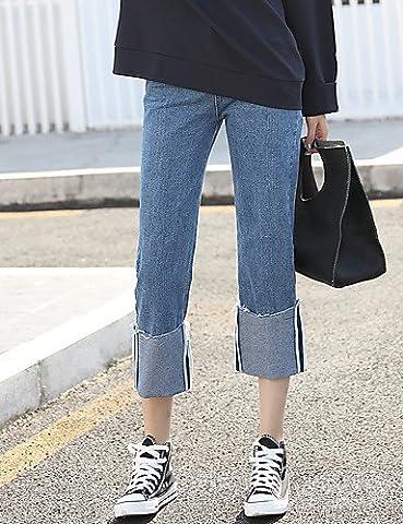 PU&PU ressort taille haute larges jeans jambe jean droit collants pantalon de curling de bordage femme coréenne bf lâche , blue , s