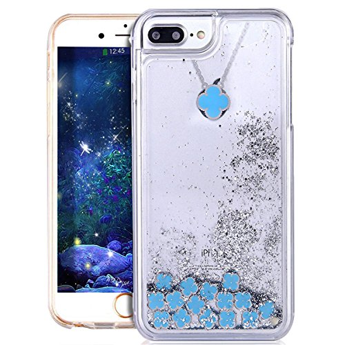 EMAXELERS iPhone 6S Plus Case Transparent Clear Glitzer Liquid Diamond Hülle,iPhone 6S Plus Hülle Rosa,iPhone 6S Plus Hard Hülle,iPhone 6S Plus Hülle Bling 3D Kreative Liquid Case Etui für iPhone 6 Pl Flamingo Liquid 7