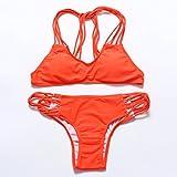 QPLA@Multi-Seil multicolor Bikini Bademode Badeanzug,Orange-rot,L