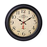 XJYA Vintage Wanduhr Aus PP Mit Lautlosem Uhrwerk - 16In - Kein Nerviges Ticken Wanduhr Stille Nicht-Tickende,A