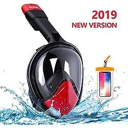 AGM Masque de Plongée sous-Marine, Masque Snorkeling Intégral Plein Visage 180° Visible, GoPro Compatible, Technologie Dry Top, Anti-Brouillard et Anti-Fuite pour Enfants Adultes- Noir & Rouge