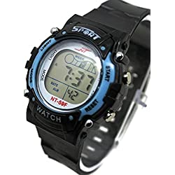 QBD Boys Unisex Super Value Waterproof Multi Function LED Digital Stopwatch Alarm Backlight Sports Wrist Watch (V-Dark Blue)