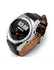 Sendream Ronda Smartwatch Soporte SIM Tarjeta SD Bluetooth WAP GPRS SMS monitor de frecuencia cardíaca / monitorización de sueño perfecto compatible con IOS y Android (plata)
