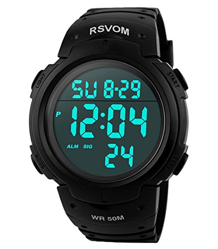 Heren Sport Digital Horloges - 50 m Waterdicht Sport Polshorloge met wekker stopwatch, zwart Big Face Polshorloge, loopt met LED-achtergrondverlichting digitaluhren voor mannen van RSVOM