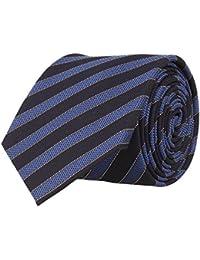 OTTO KERN Schmale Krawatte Seide Seidenkrawatte Clubkrawatte Navy Blau Gestreift 6,5 cm