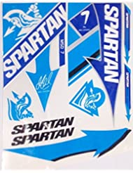 5 X Spartan Batte de cricket fabriqué sur mesure Lot d'autocollants (Comprend 5 jeux de batte Stickers)
