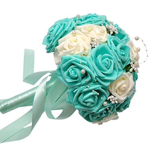uß Kristall Rosen Perlen Brautjungfer Hochzeit Blumenstrauß Brautstrauß Kunstseide Blumen blau ()