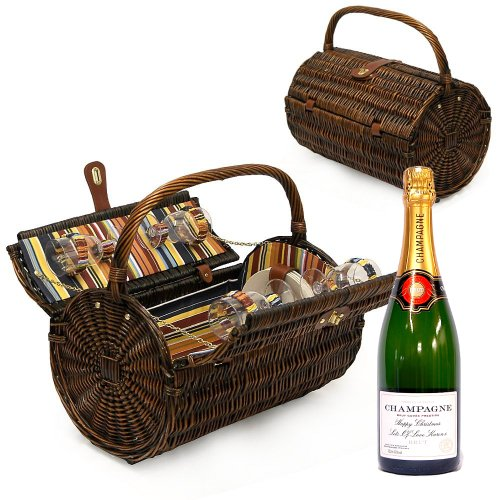 4 Person Luxury Cantley Picnic Basket Hamper with a Bottle of Personalised 750ml Champagne and Accessories - Gift Ideas for Christmas presents, Birthday, Wedding, Anniversary and Corporate