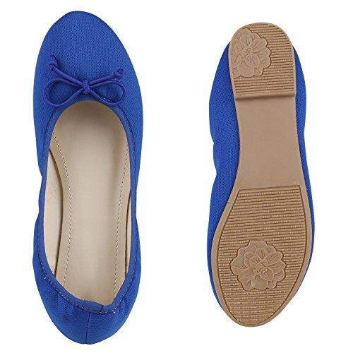 Klassische Damen Ballerinas Lederoptik Basic Freizeit Schuhe Übergrössen Blau Blau Nude