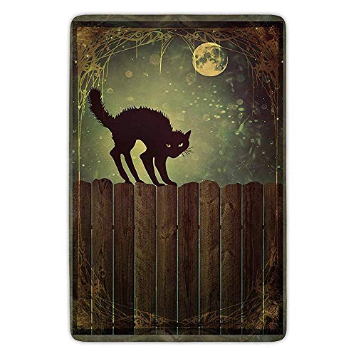 Bathroom Bath Rug Kitchen Floor Mat Carpet,Halloween,Angry Aggressive Cat on Old Wood Fences at Night Framework Eerie Vintage Print Decorative,Multicolor,Flannel Microfiber Non-slip Soft Absorbent (3-4 Halloween Angry Birds)