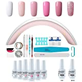 Vishine Kit Nail Art 6pc Smalto in Gel Semipermanente e Base Coat Top Coat 36W Lampada LED Fornetto unghie Attrezzi per unghie Nail art decorazioni 33 Accessori