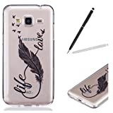 Coque Samsung Galaxy J3 2016, Mifine Housse Transparente Samsung Galaxy J3 2016 Etui Silicone, Samsung Galaxy J3 2016 Coque Clair Ultra-Mince Etui Housse, Flexible Lisse Housse TPU Souple Etui de Protection Silicone Case Soft Gel Cover Anti Rayure Anti Choc + 1 x Stylus Stylet Stylo - Noir Plume