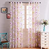 Top Finel Floral Print Eyelet Voile Panel Drape Net Curtains for Living Room 54-Inch Width X 84-Inch Drop,Pink Flowers
