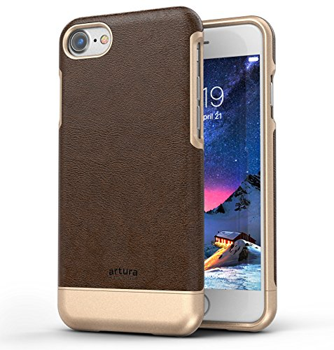 iPhone 7 Premium Vegan Leather Case - Artura Collection By Encased (Jet Black) Hickory