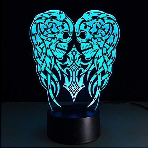 Zfkdsd Halloween Weihnachten Urlaub Geschenk 3D Optische Täuschung Led Tisch Nachtlicht Schädel Geist Usb KabelBetrieben Schreibtischlampe