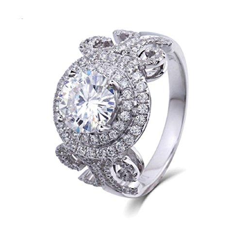 Gowe moissanites Ring 1Karat GH Farbe für Frauen 14K Weiß Gold Romantische Diamant Seite zertifiziert Engagement Ring Zinken Prägung Einstellung (Diamant-moissanite Ring)