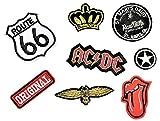 Patch Sticker 8 Stück Aufnäher Kleidung Patch AC/DC, Route 66, Zunge, Original, Stern, und Mehr