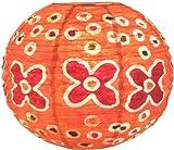 Guru-Shop Corona Round 30 cm Runder Lokta Papierlampenschirm Flower Power, Orange, Lokta-Papier, Farbe: Orange, Deckenleuchte Kugelförmig