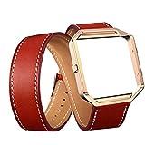 YuStar Smart Watch Ersatz Riemen Band, Doppelter Ring Luxus Lange Leder Watchbands adjustbable Armband mit Metall Rahmen Halterung für Fitbit Blaze M Rot