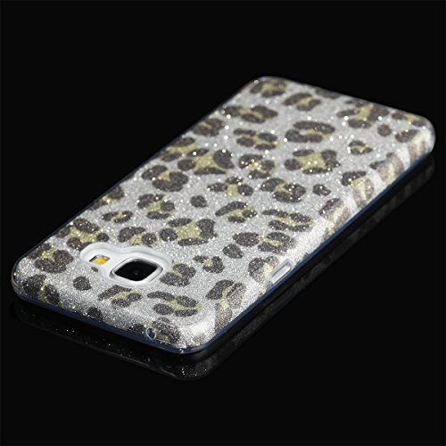 EGO ® Hülle Glitzer Schutzhülle + Panzerglas für iPhone 6 Plus 6S Plus, Silber Blume Back Case Bumper Glänzend Transparente TPU Bling Weiche Glamour Handy Cover Leopard Silber