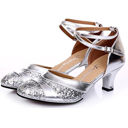 Oasap Women's Sequins Cross Strap Latin Dance Shoes Golden