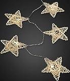 Hellum LED Rattan Sterne Lichterkette batteriebetrieben Rattan 16 LED Weihnachten Fensterbeleuchtung Dekoration Ganzjährig Indoor warmweiß