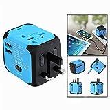 OFKPO Adaptador de viaje internacional -Cargador de Viaje Universal Enchufe Adaptador Internacional con Dos Puertos USB (Azul)