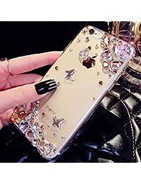 Shinyzone Coque pour Samsung Galaxy A6 2018-Étui Transparent avec 3D à la  Main Or Brillante Diamant Strass Papillon Glitter de… 9eff85c5172