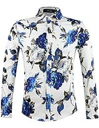 APTRO Chemise Homme Manches Longues à Fleurs en Pur Coton Ajustée Mode Luxueuse Classique